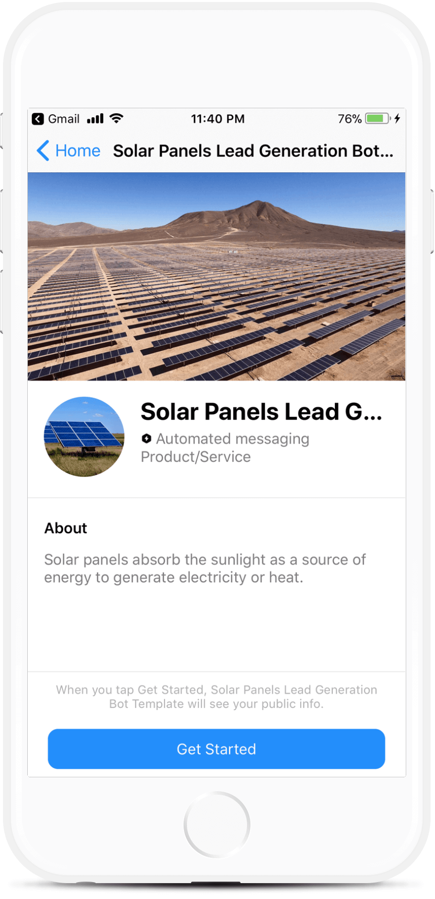 Solar Panels Lead Generation Bot Template