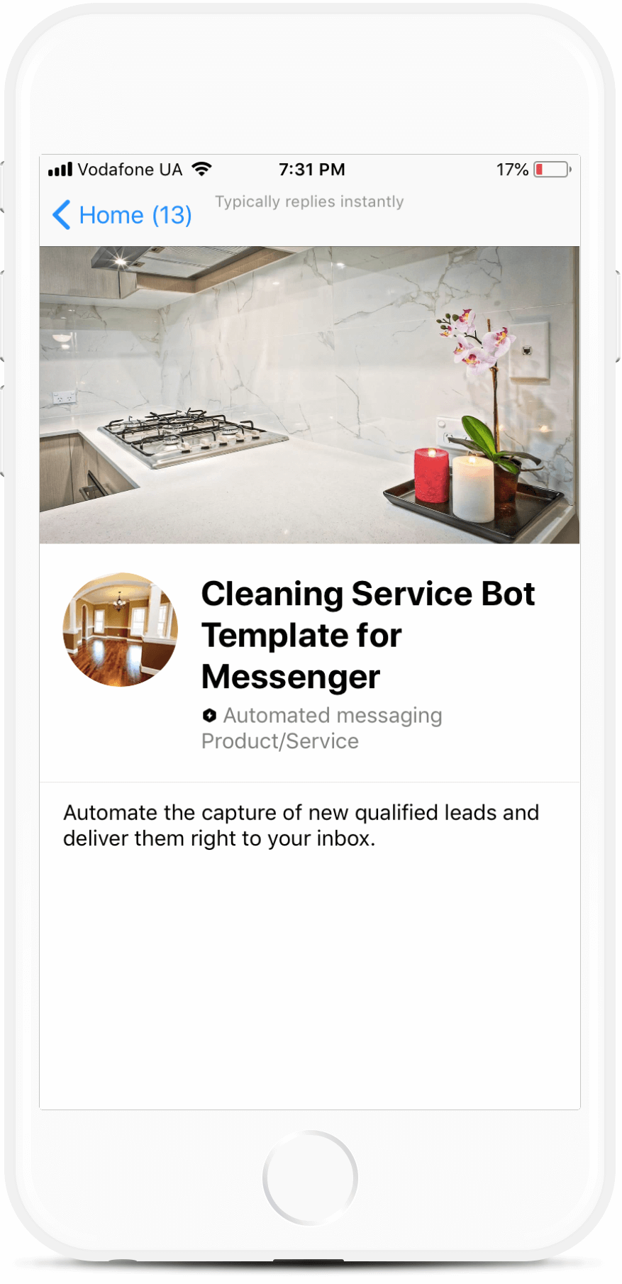 Cleaning Service Bot Template for Messenger
