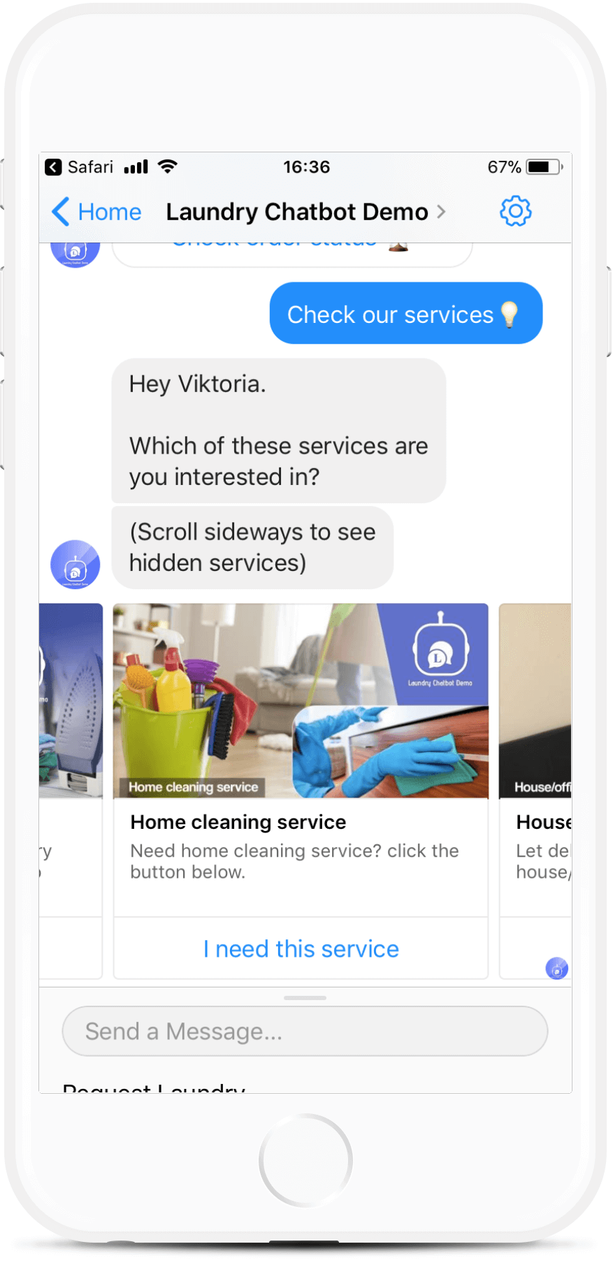 Dry Cleaning & Laundry Chatbot Template for $79