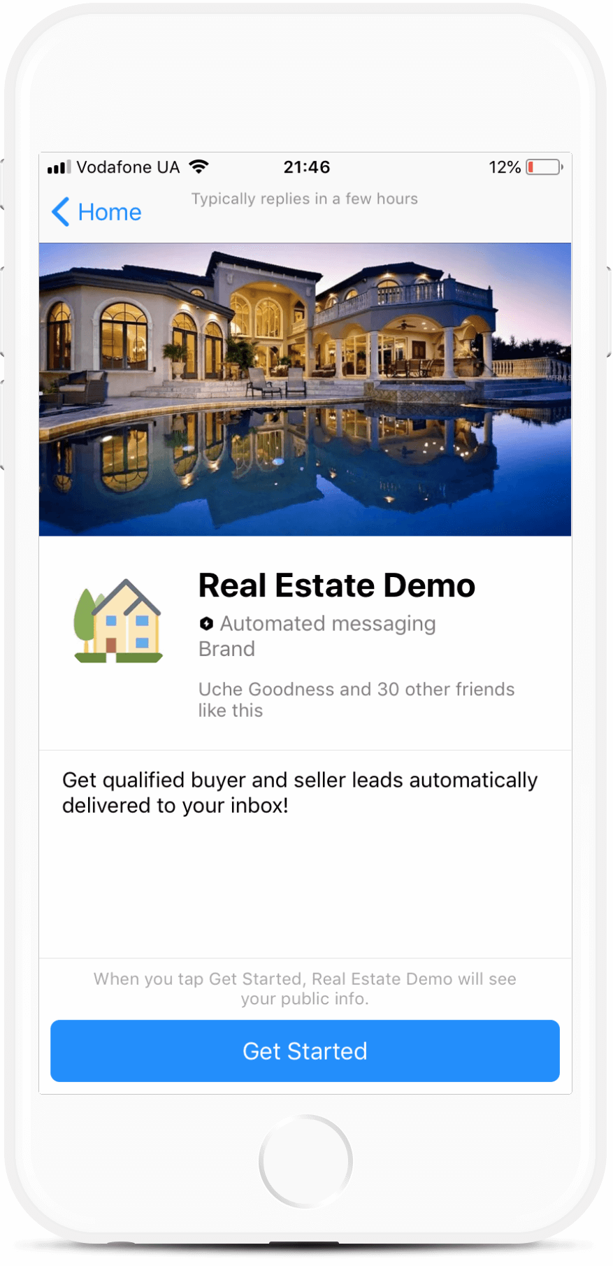 Real Estate Chatbot bot screenshot