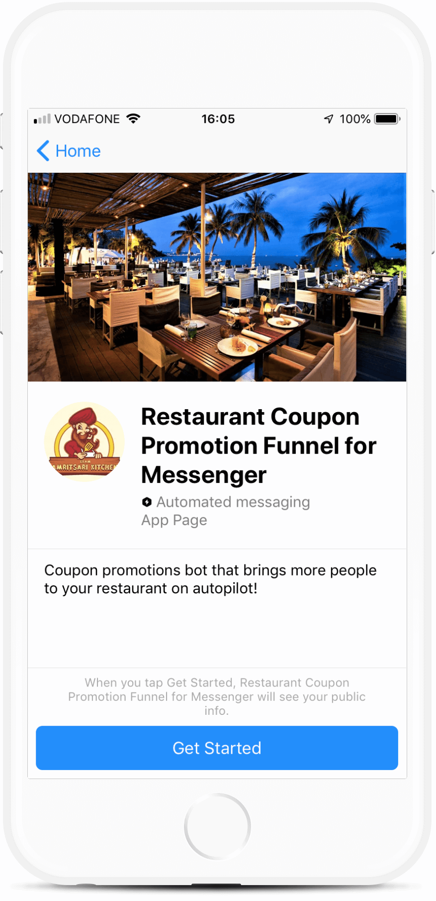 Restaurant Coupon Promotion Funnel for Messenger bot screenshot