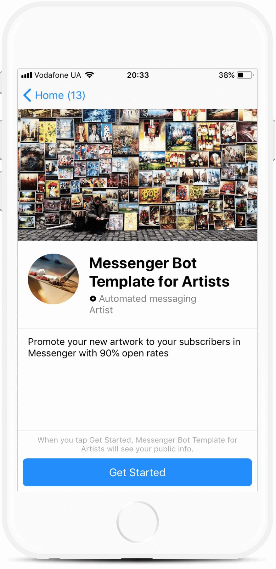 Messenger Bot Template for Artists bot screenshot