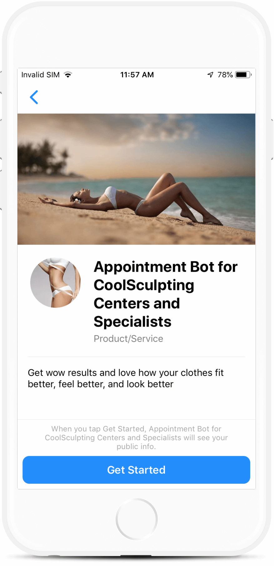 CoolSculpting Center bot screenshot
