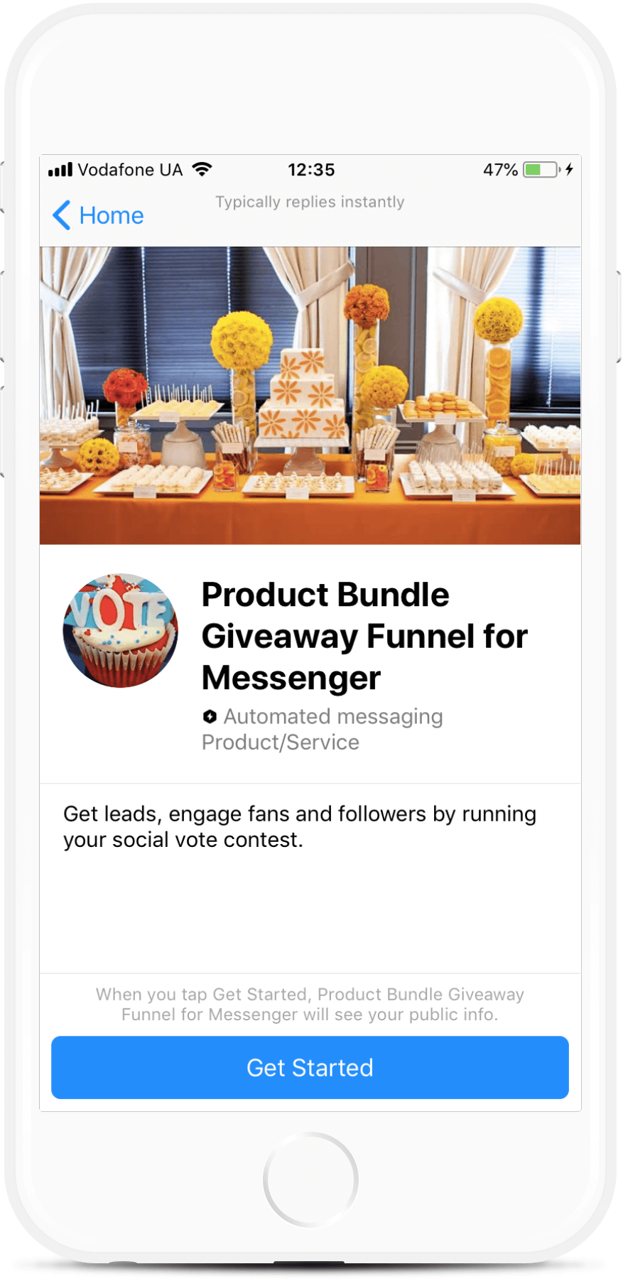Vote Contest Giveaway Funnel for Messenger