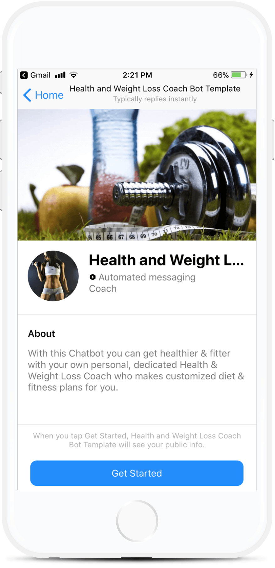 Health and Weight Loss Coach Messenger bot screenshot