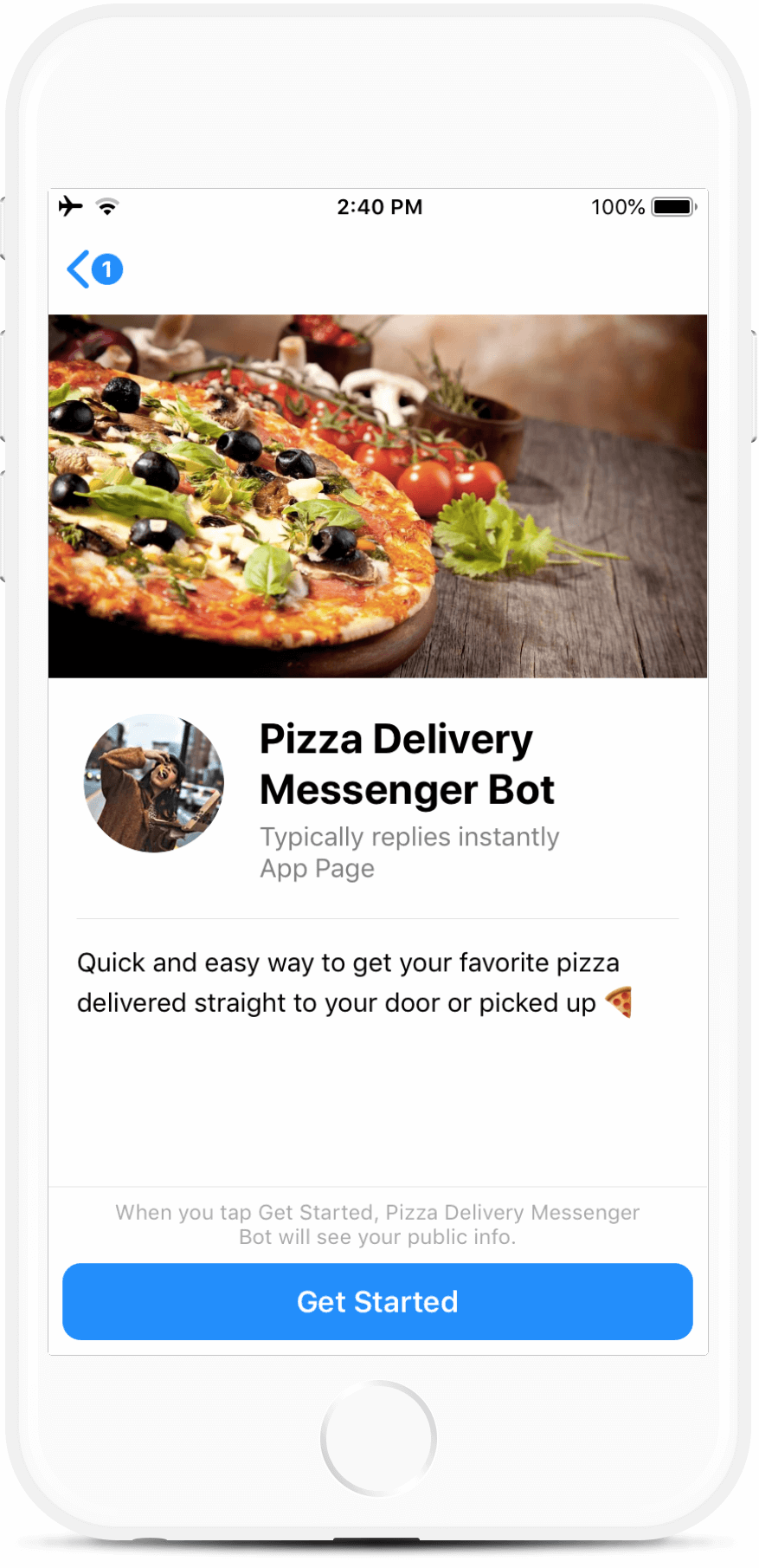 Pizza Ordering and Delivery Messenger Bot