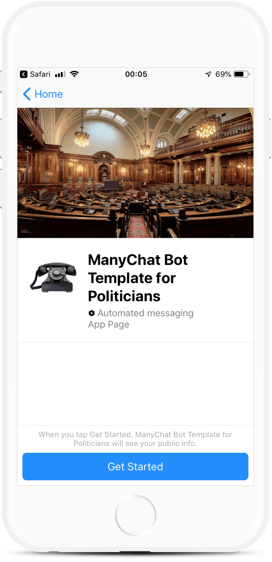 ManyChat Bot Template for Government Agencies and Politicians bot screenshot