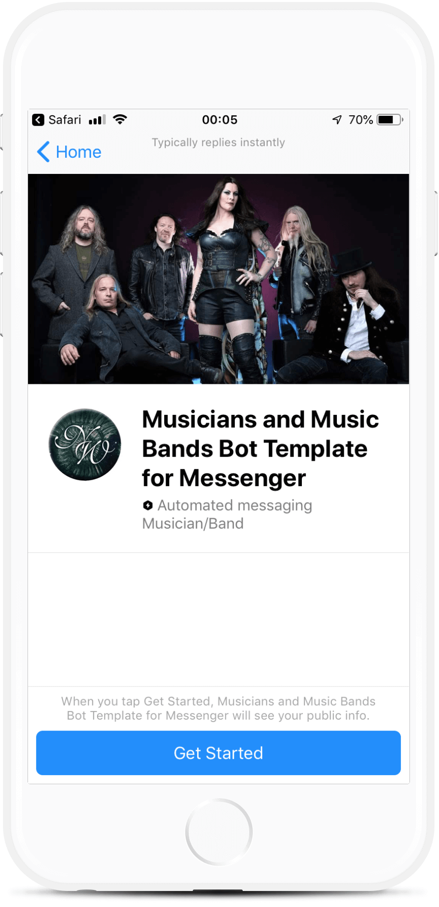 Music Band Chatbot for Messenger