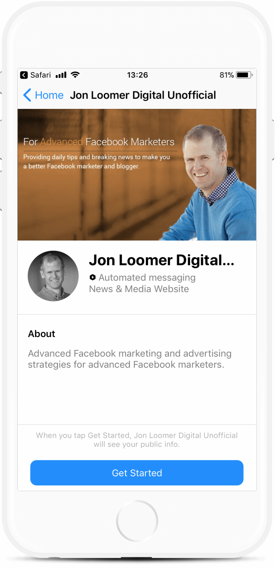 Facebook Marketing Coach Bot Template bot screenshot