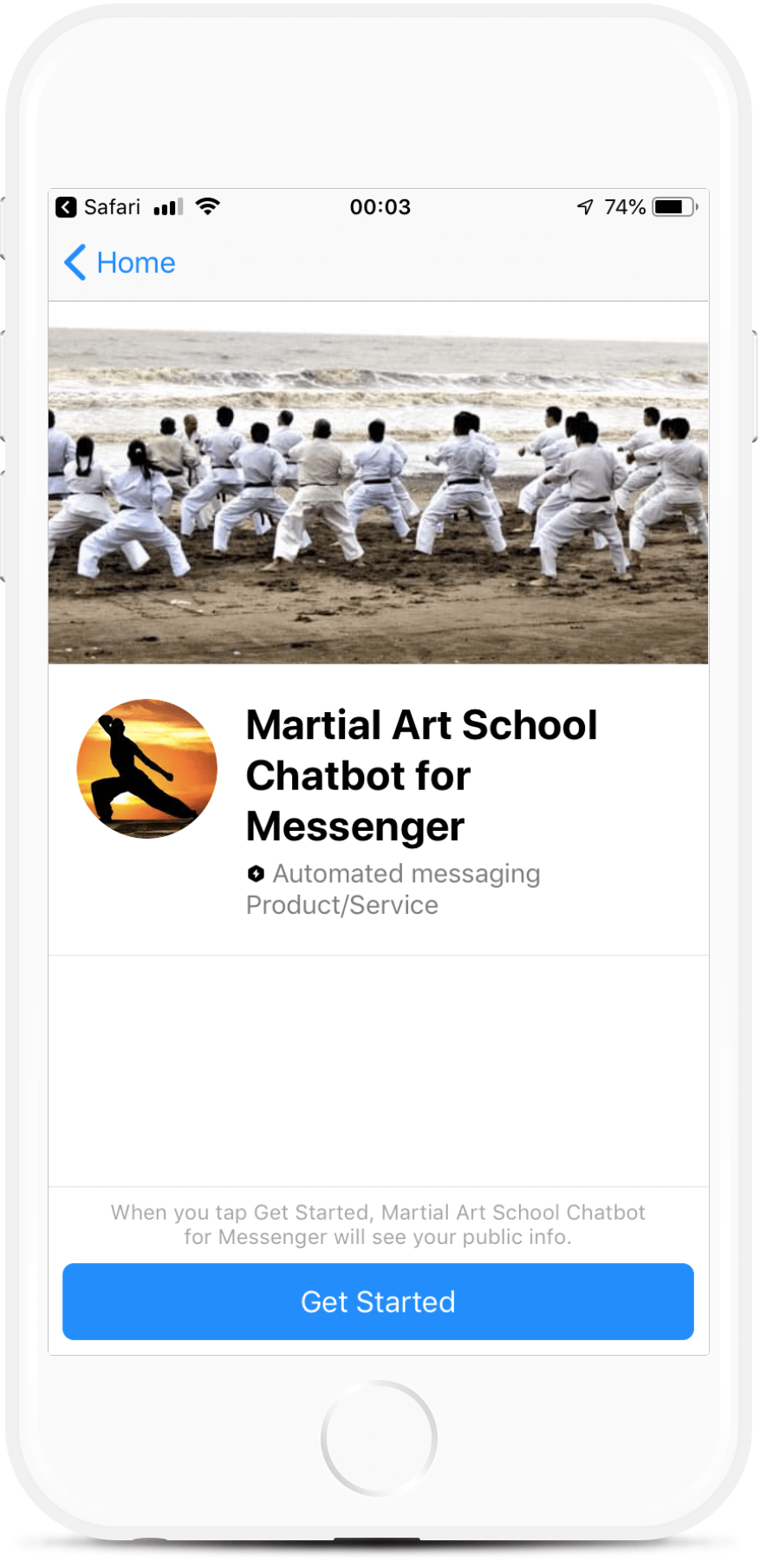 Martial Art School Chatbot for Messenger
