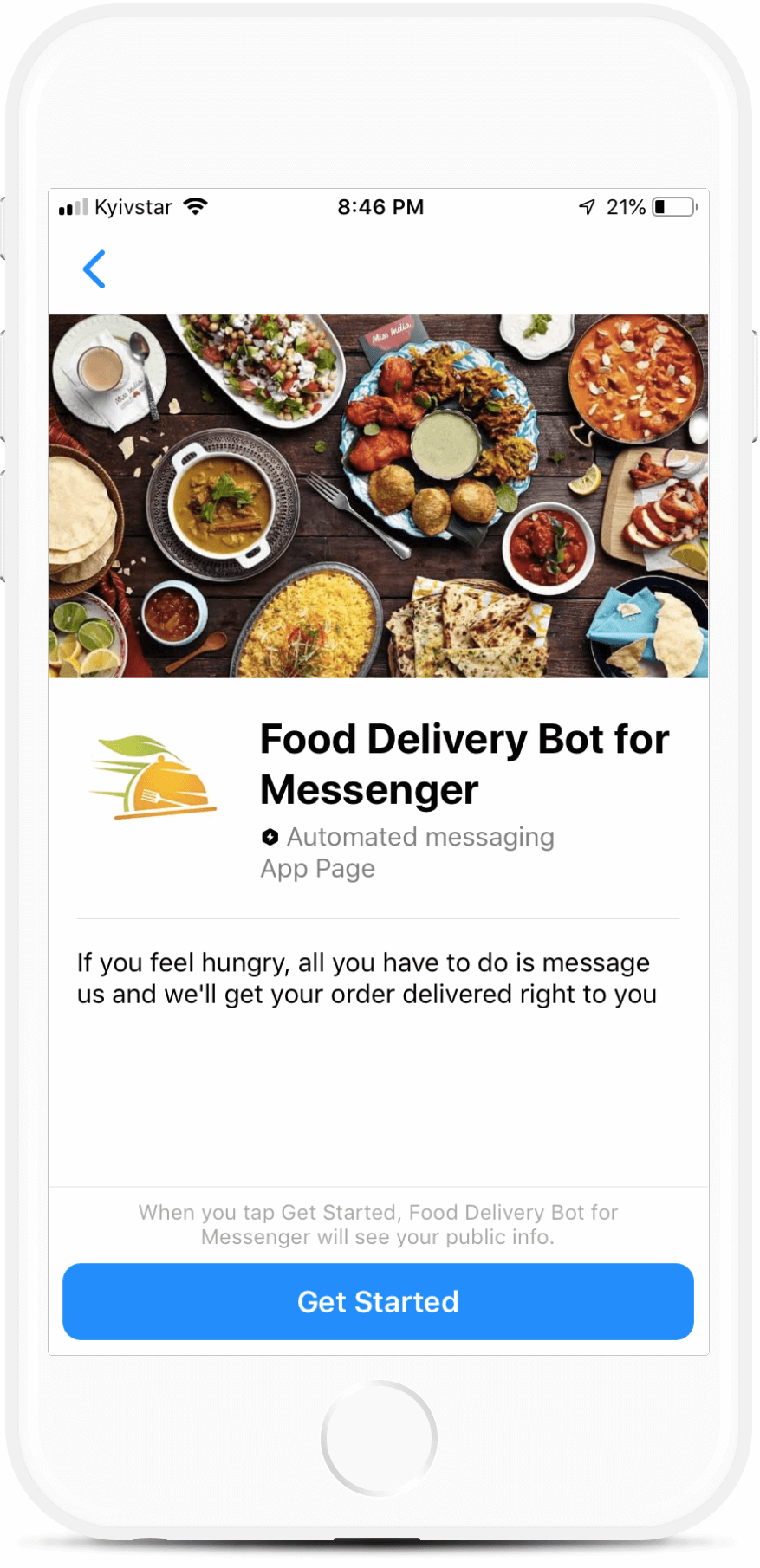 Food Ordering and Delivery bot screenshot