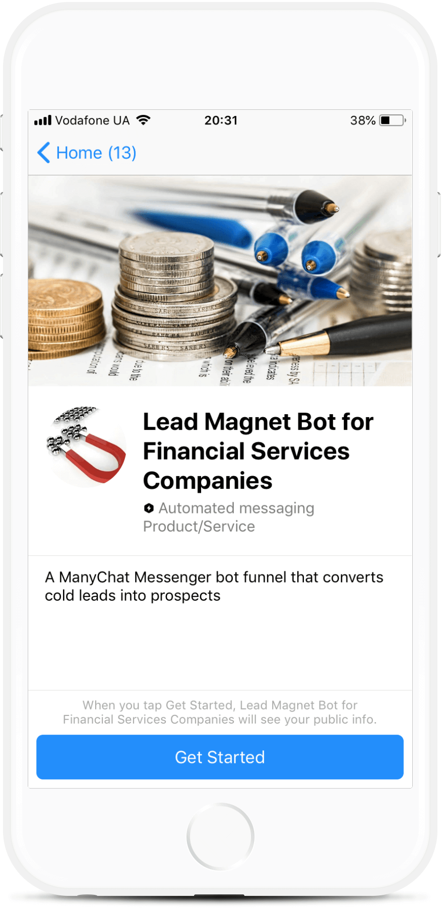 Lead Magnet Bot for Financial Services Companies bot screenshot