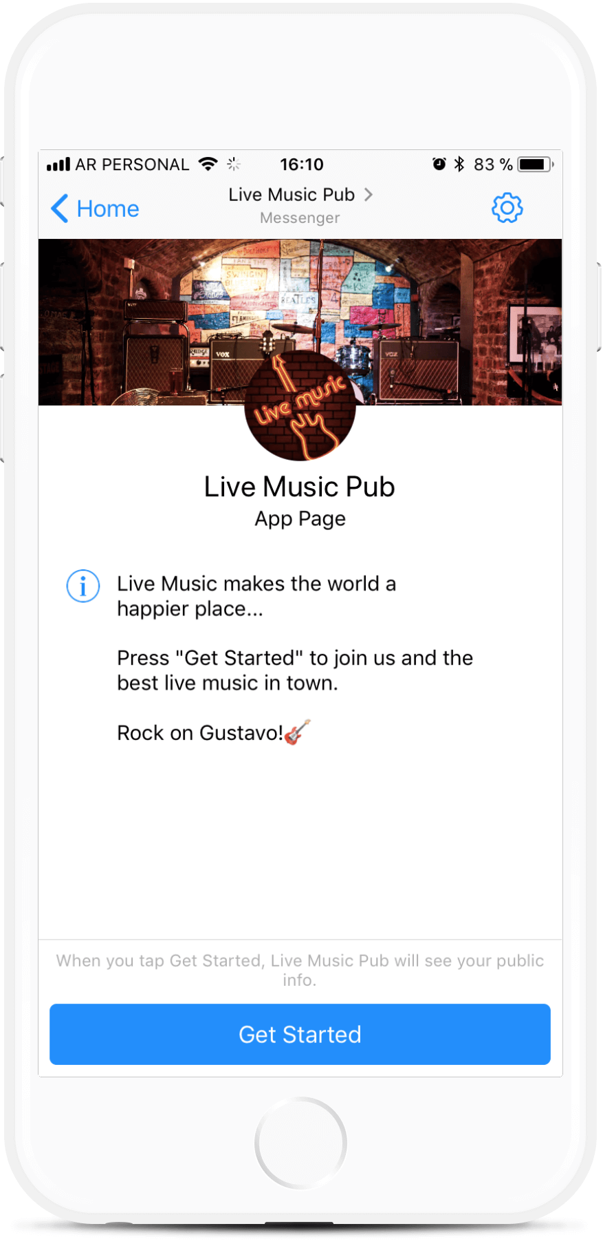 Live Music Pub bot screenshot