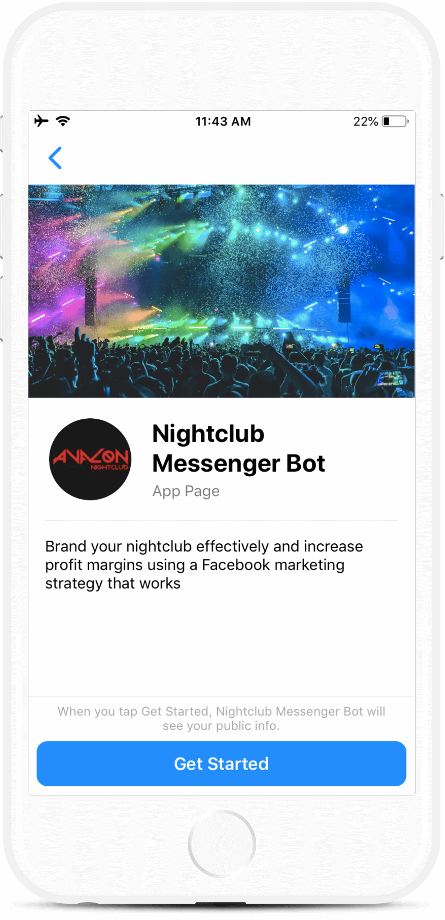 Facebook Messenger Bot for Nightclubs
