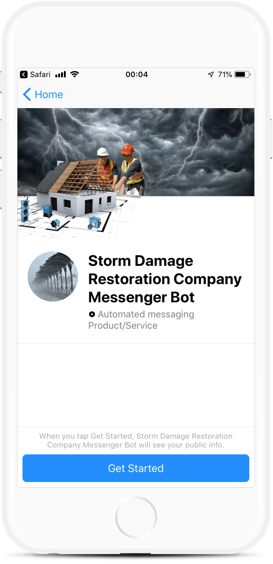 Damage Restoration Company Messenger Bot