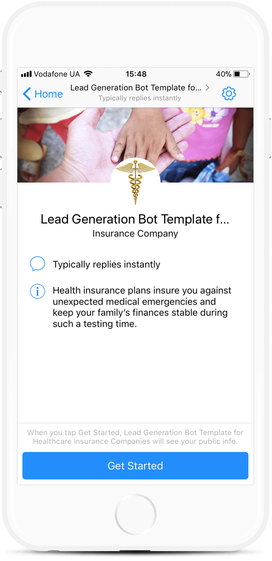 Lead Generation Bot Template for Healthсare Insurance Companies Messenger bot screenshot