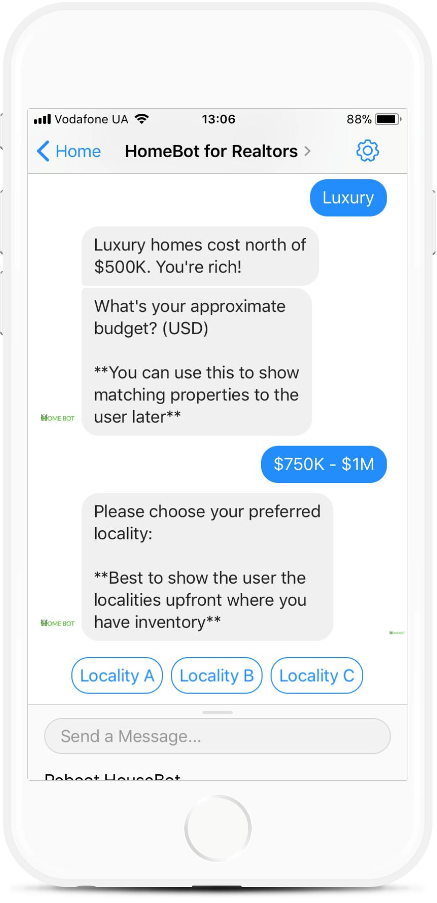 Lead Generation Bot for Realtors Dealing in Homes for $99   #messenger #bottemplates #bots #chatbots #aibots #fbmessenger #botmakers