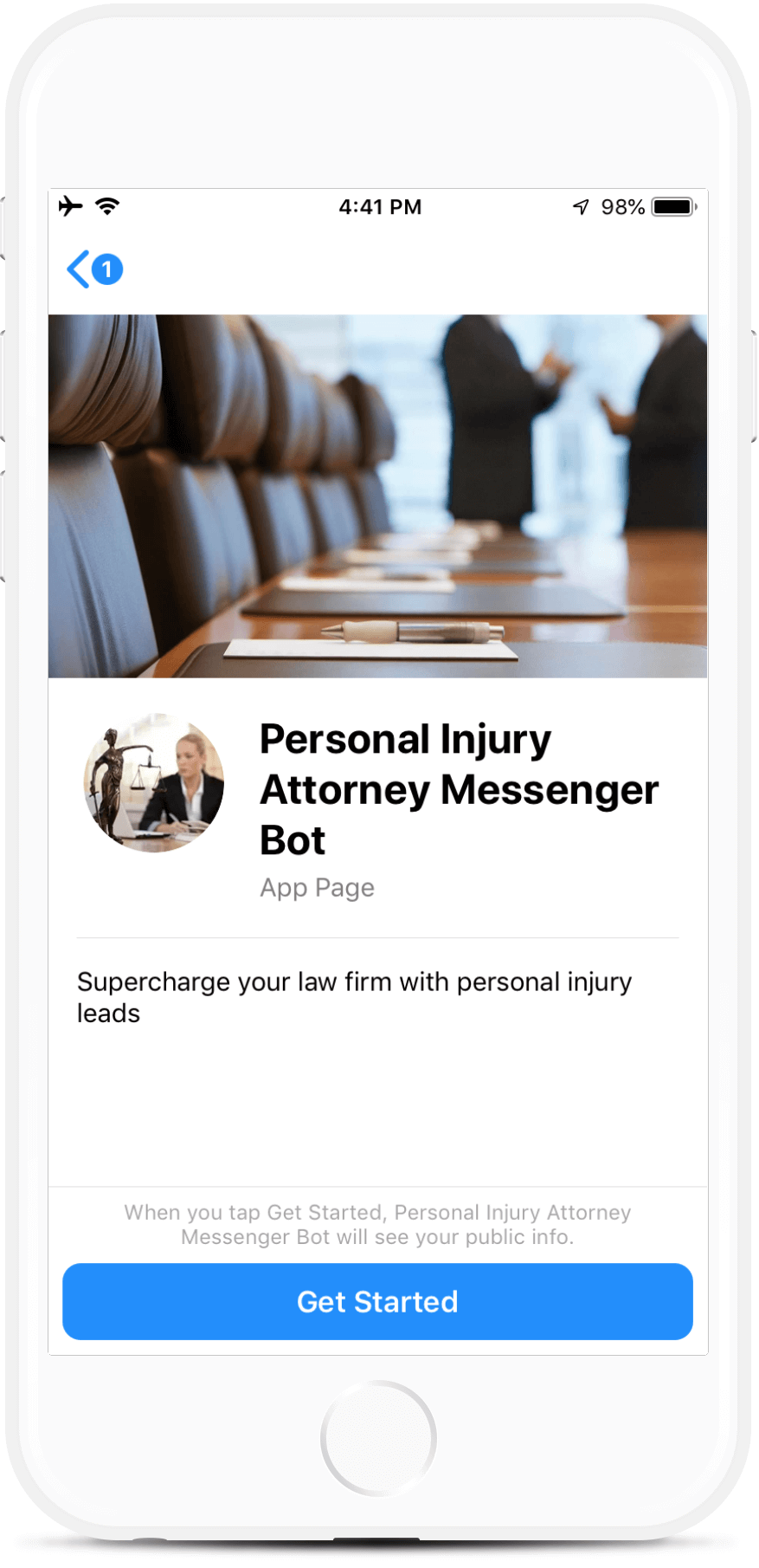 Personal Injury Attorney Messenger bot screenshot