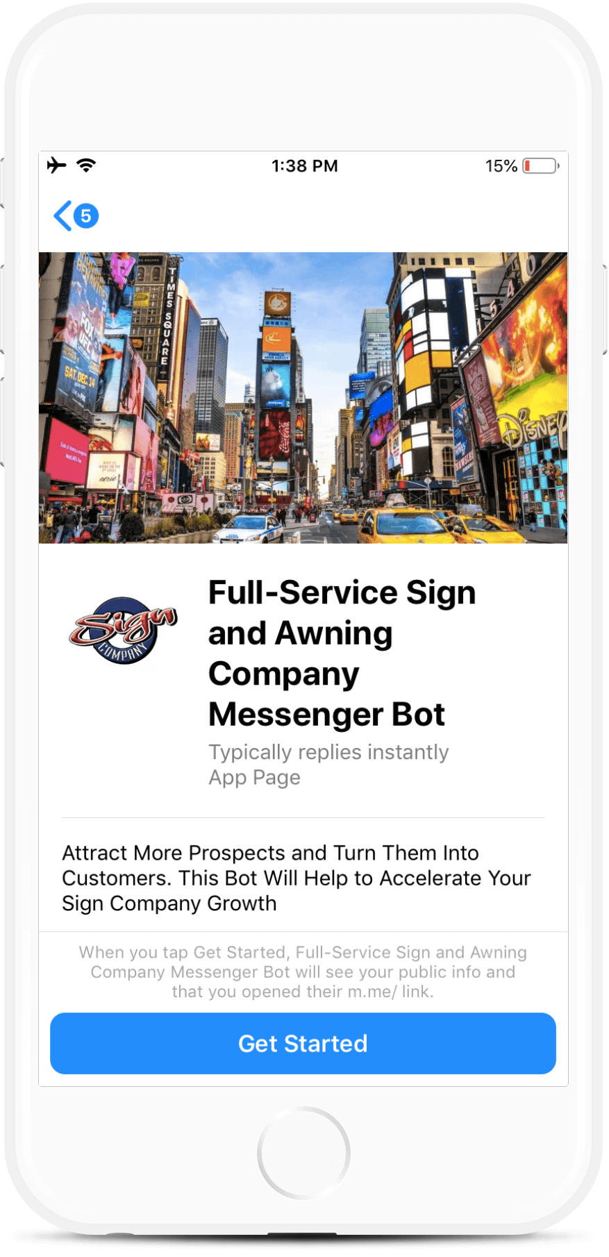 Full-Service Sign and Awning Company Bot for Messenger