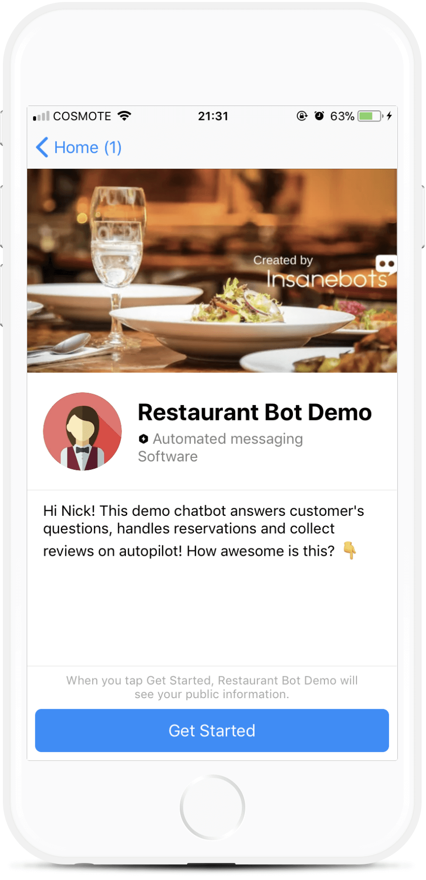 Restaurant Reviews Bot for Messenger