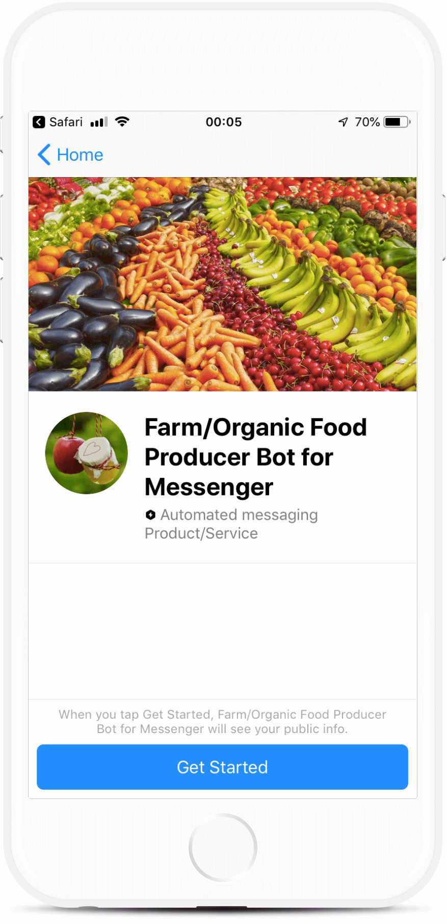 Farm/Organic Food Producer Bot for Messenger bot screenshot