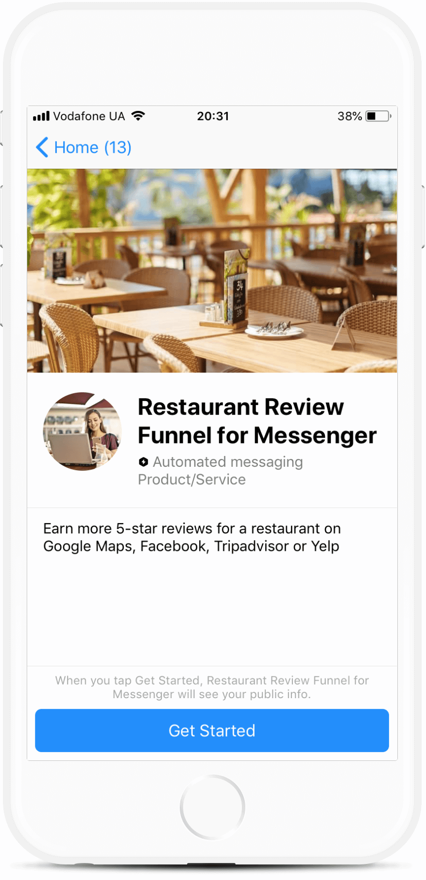 Restaurant Review Funnel for Messenger (ManyChat)