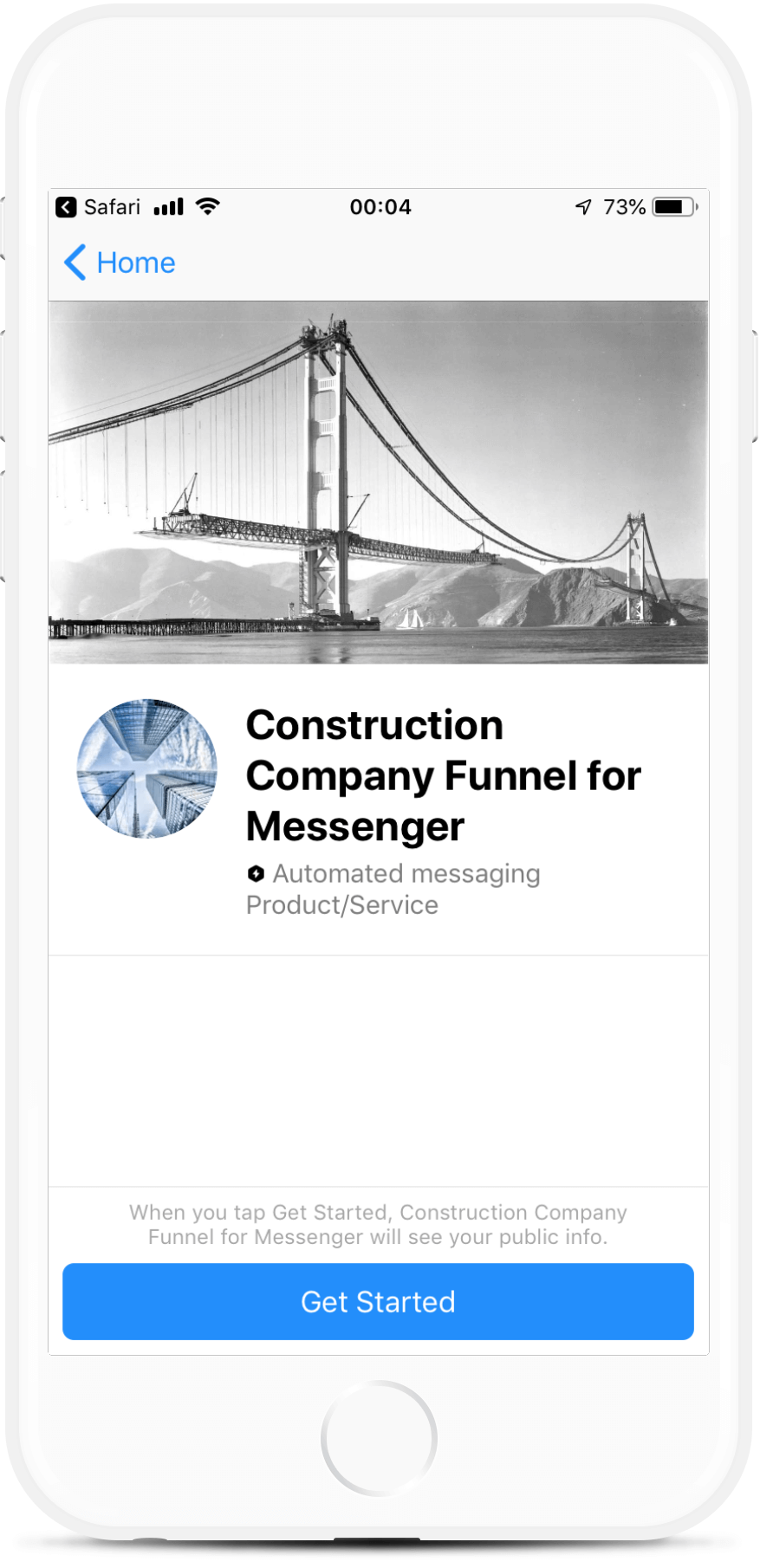 Construction Company Funnel for Messenger