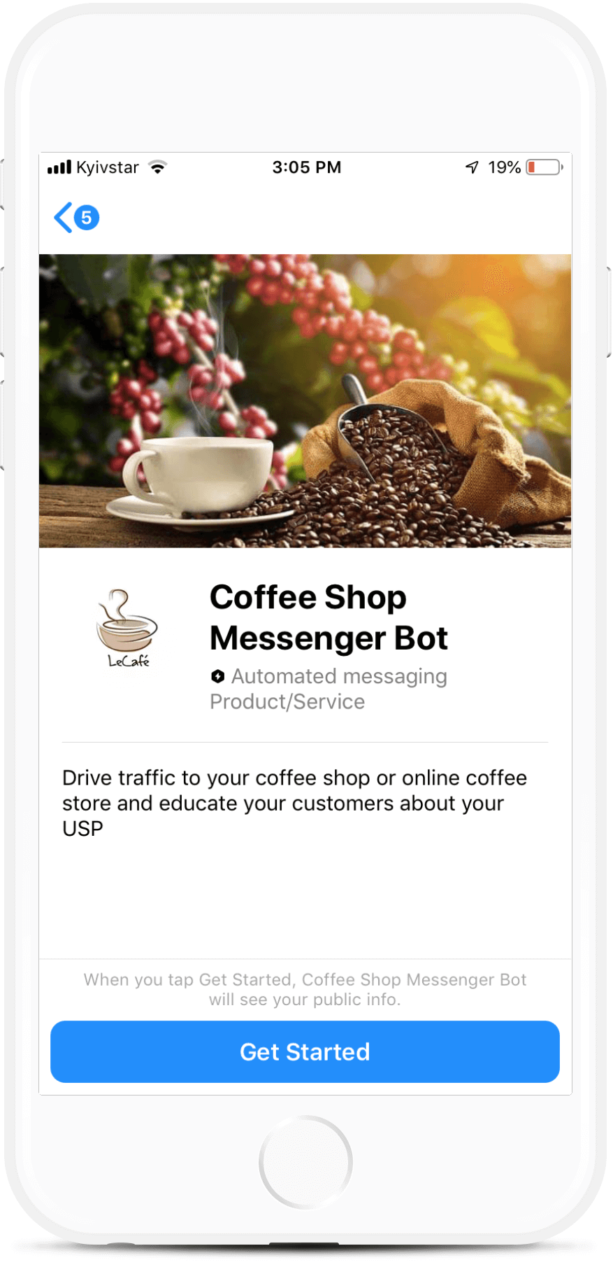 Coffee Shop bot screenshot