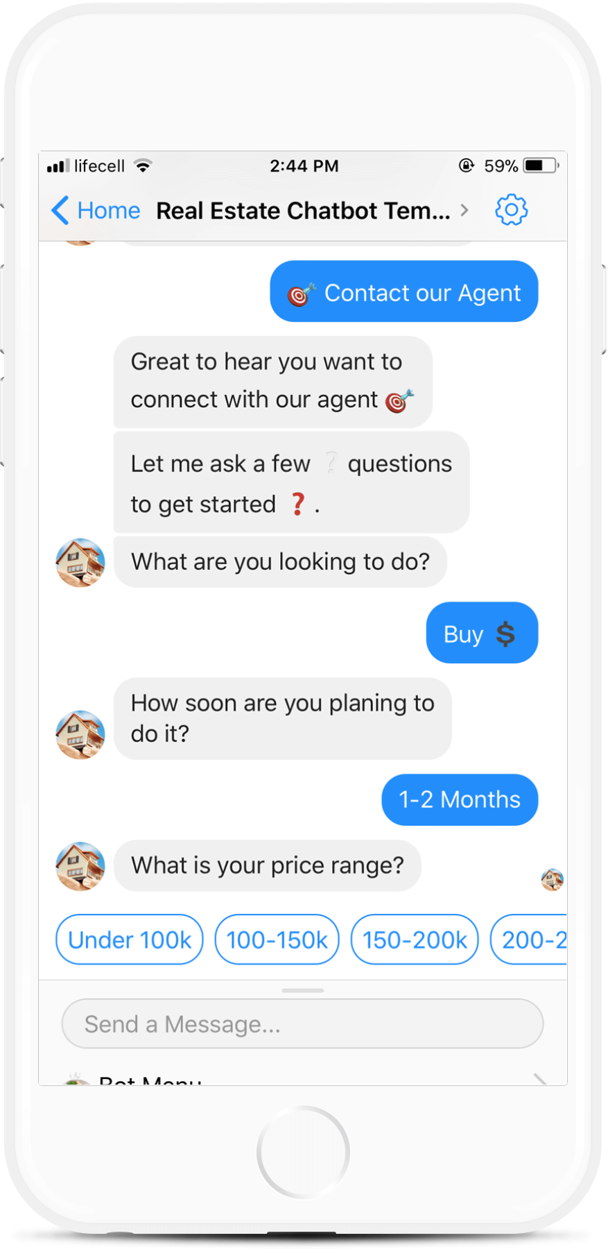 Real Estate Chatbot Template for Messenger for $79   #messenger #bottemplates #bots #chatbots #aibots #fbmessenger #botmakers