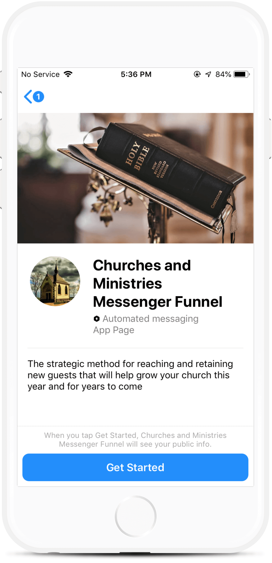 Churches and Ministries Messenger Funnel