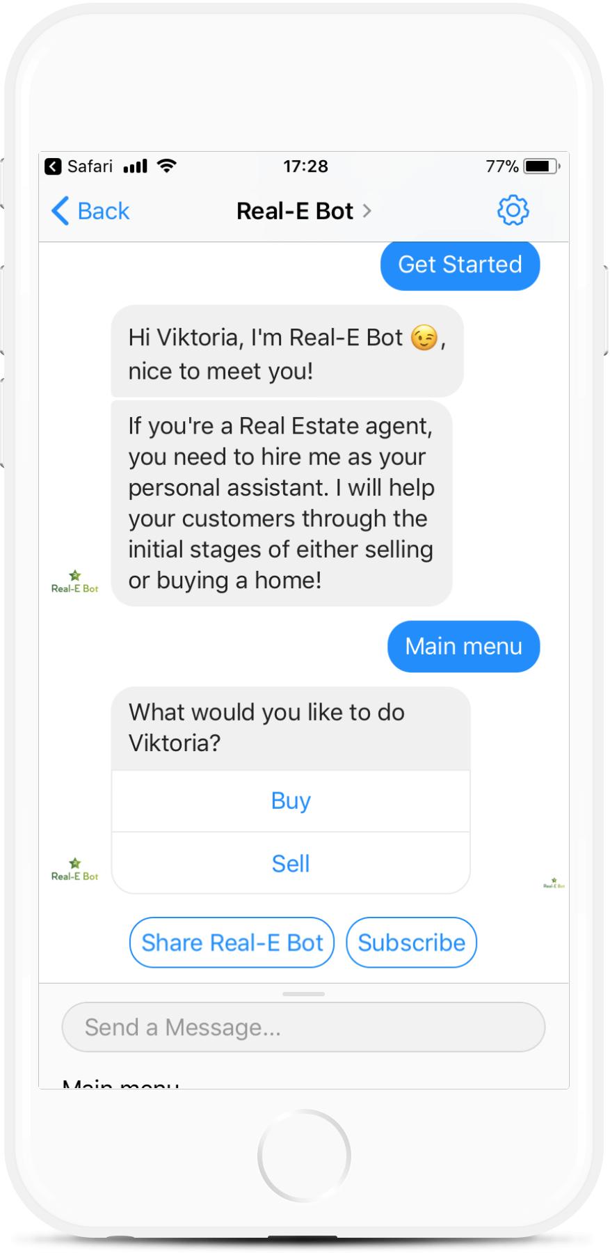 Real-E Template for Real Estate Agents for $99   #messenger #bottemplates #bots #chatbots #aibots #fbmessenger #botmakers