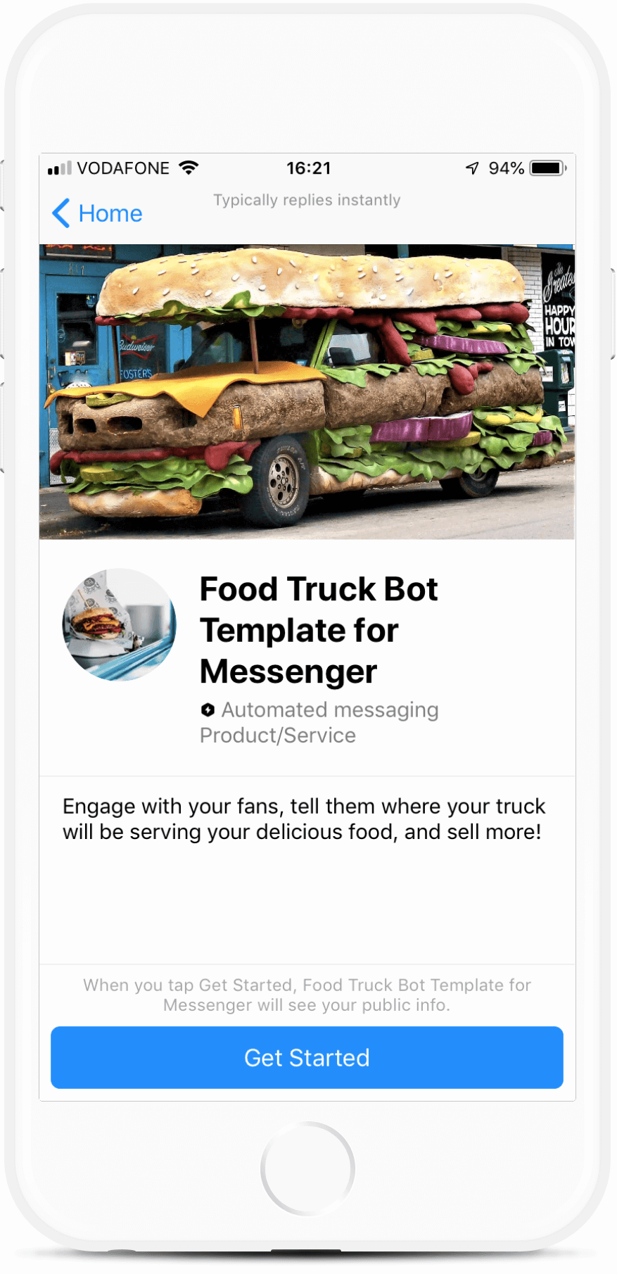 Food Truck Bot Template for Messenger