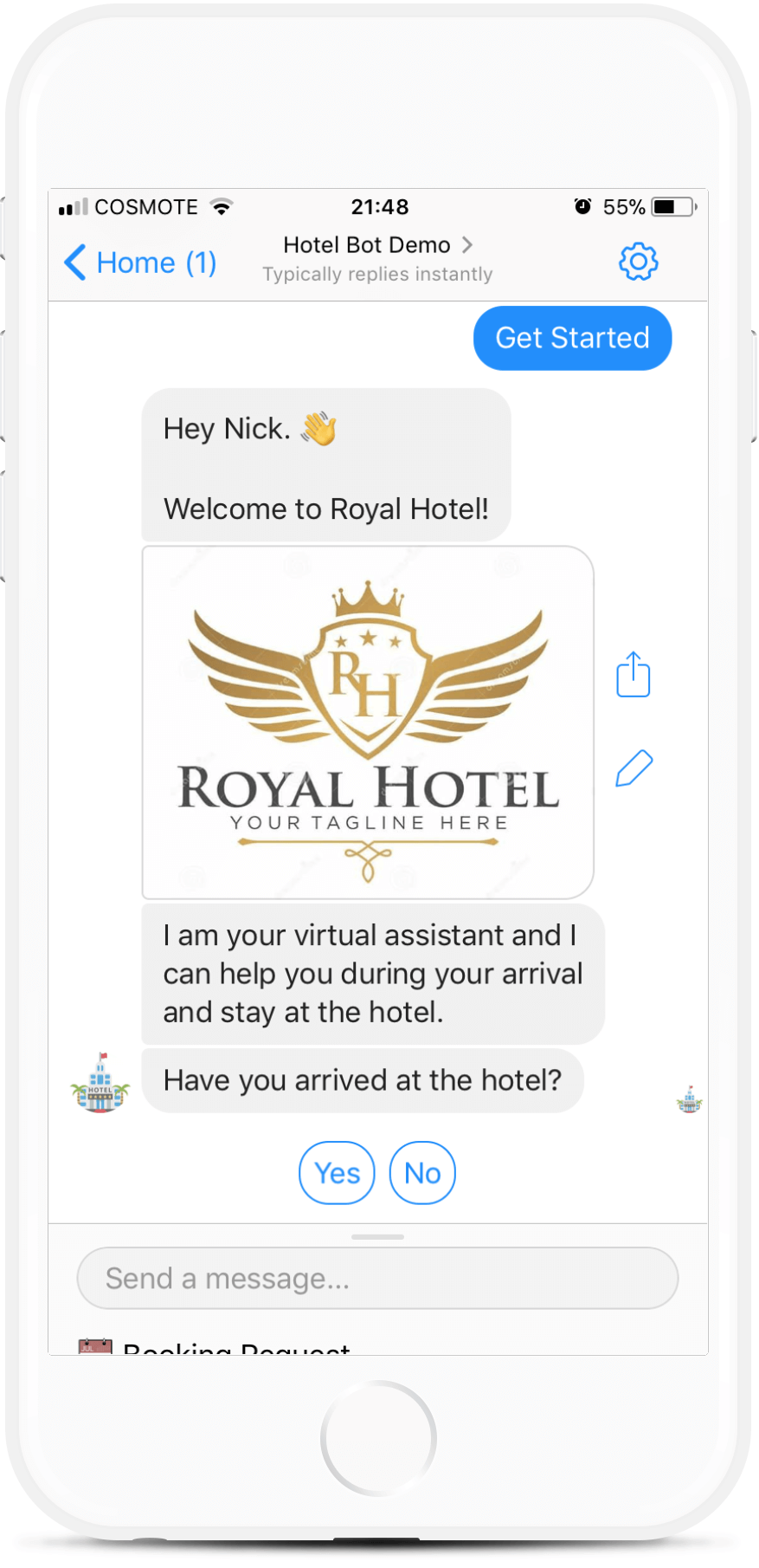 Booking Bot Template for Hotels
