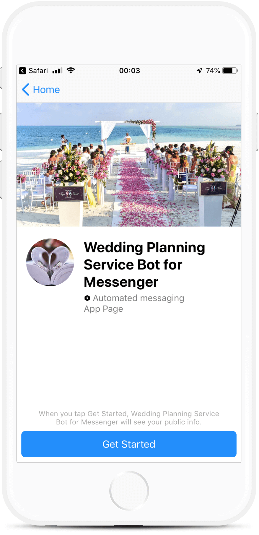 Wedding Planning Service Messenger bot screenshot