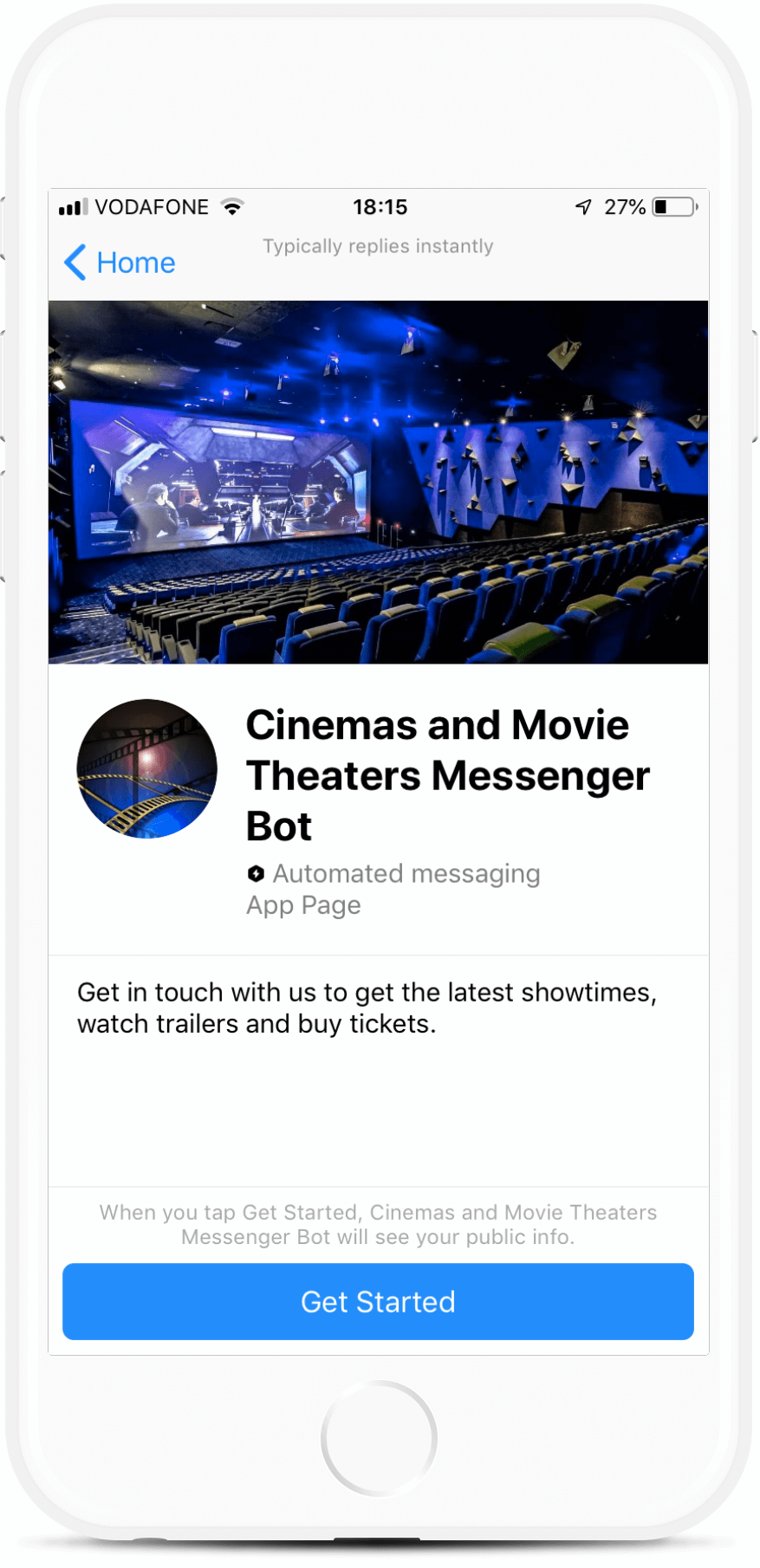 Cinemas and Movie Theaters Messenger Bot bot screenshot