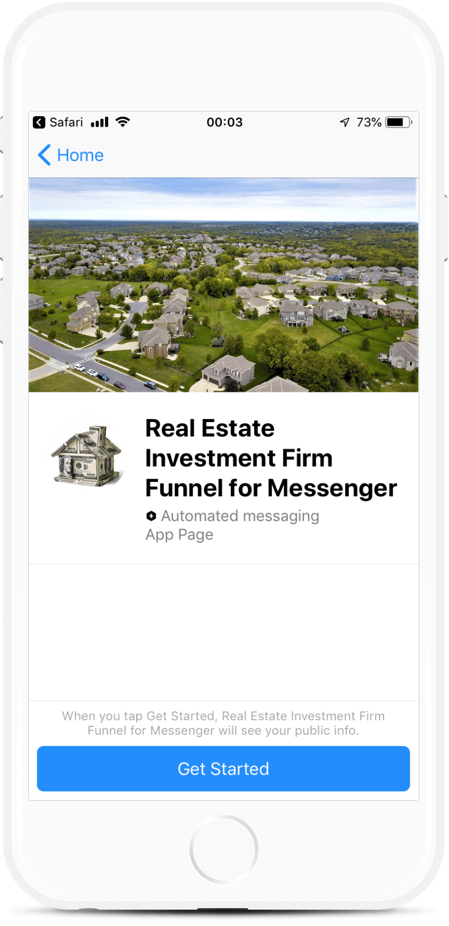 Real Estate Investment Firm Funnel for Messenger