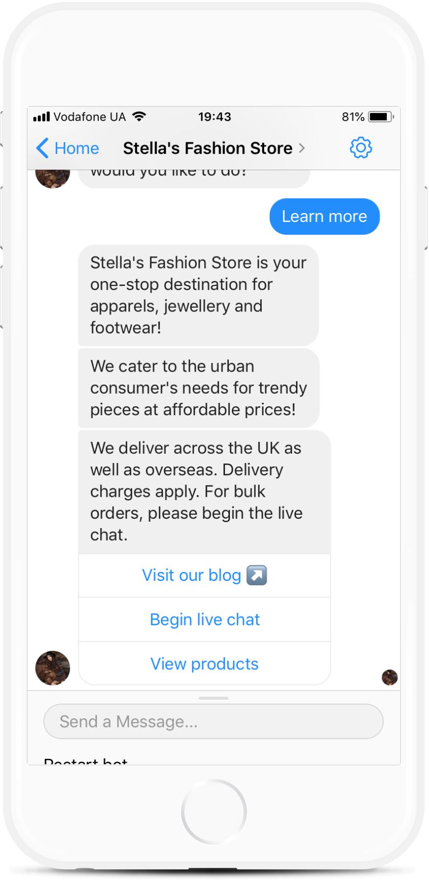 eCommerce Bot for Online Fashion Stores for $99   #messenger #bottemplates #bots #chatbots #aibots #fbmessenger #botmakers
