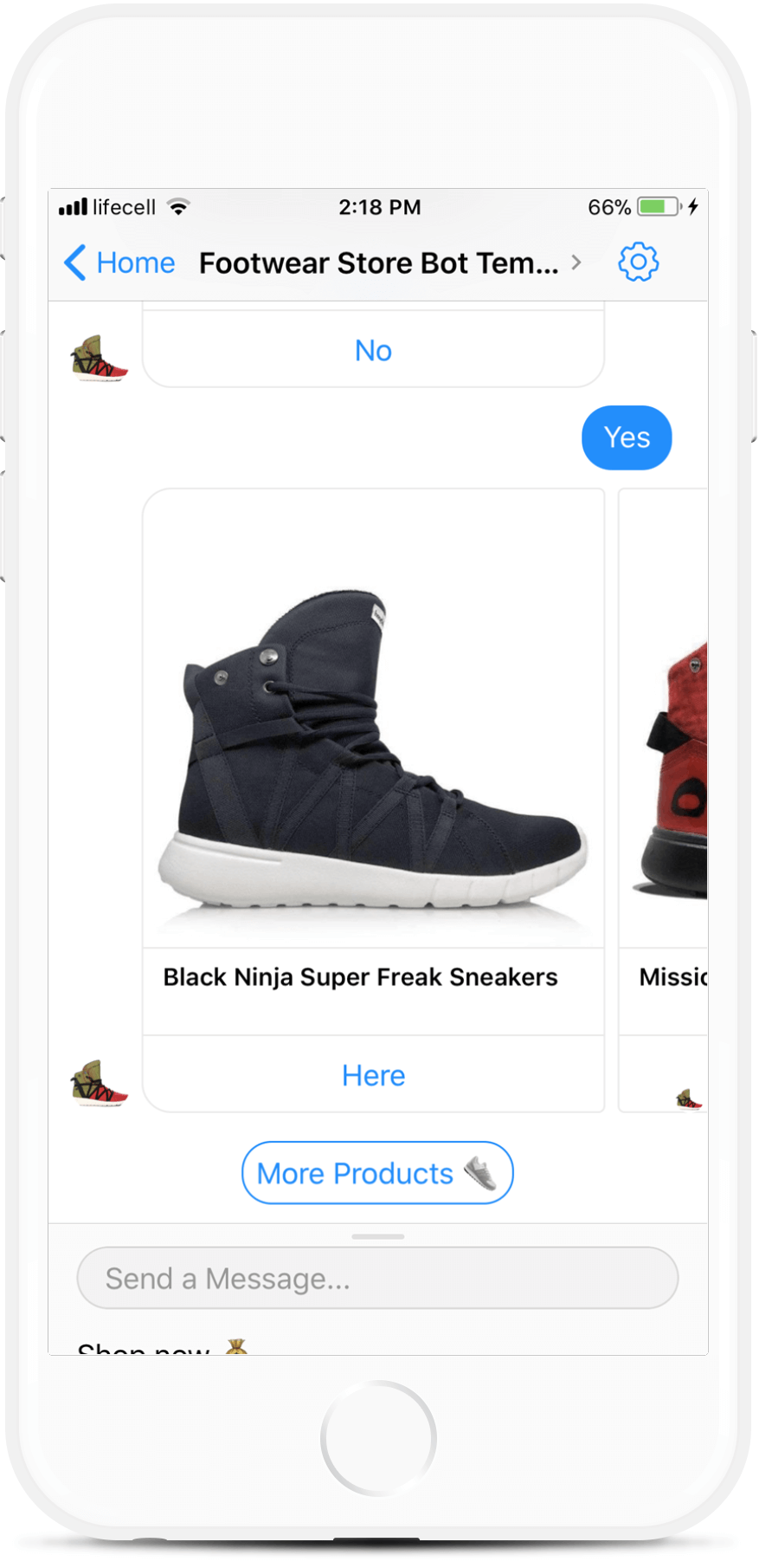 E-Commerce Messenger Bot Template for Footwear Stores for $69