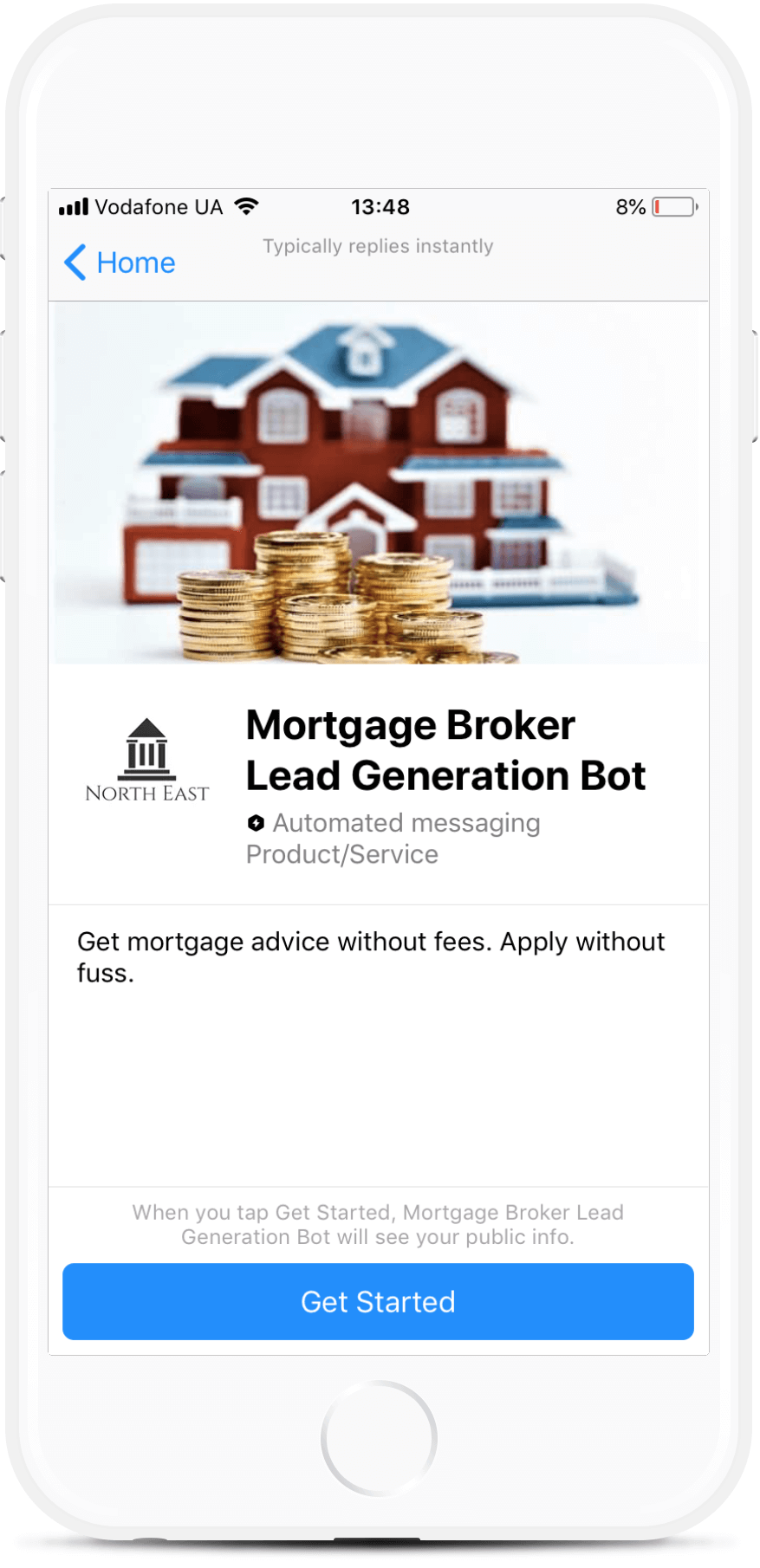 Mortgage Broker Funnel for Messenger Messenger bot screenshot