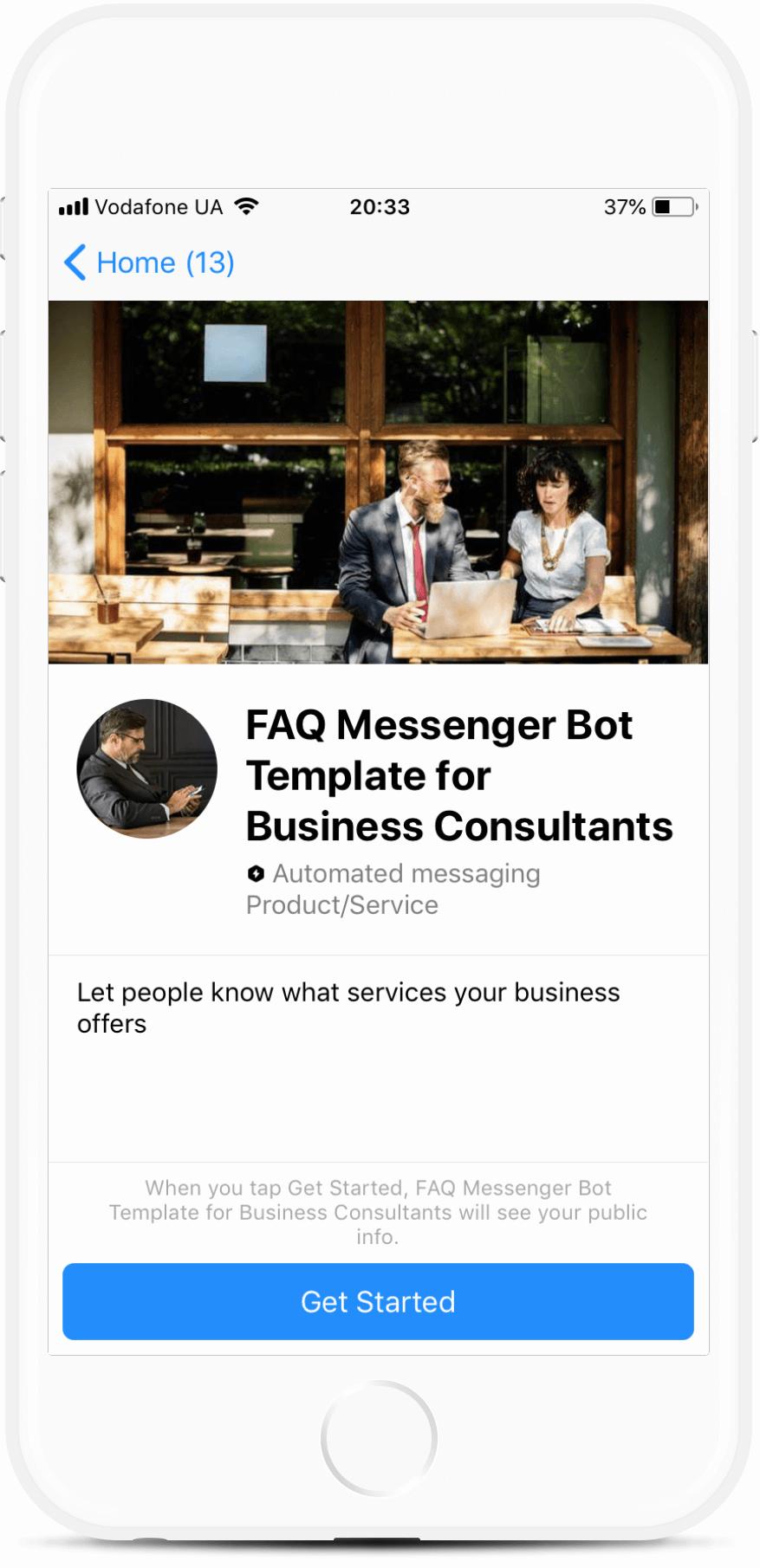 FAQ Messenger Bot Template for Business Consultants bot screenshot