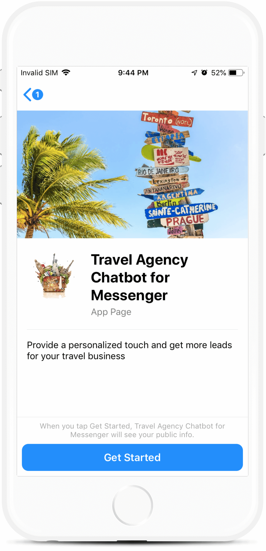 Travel Agency Chatbot for Messenger