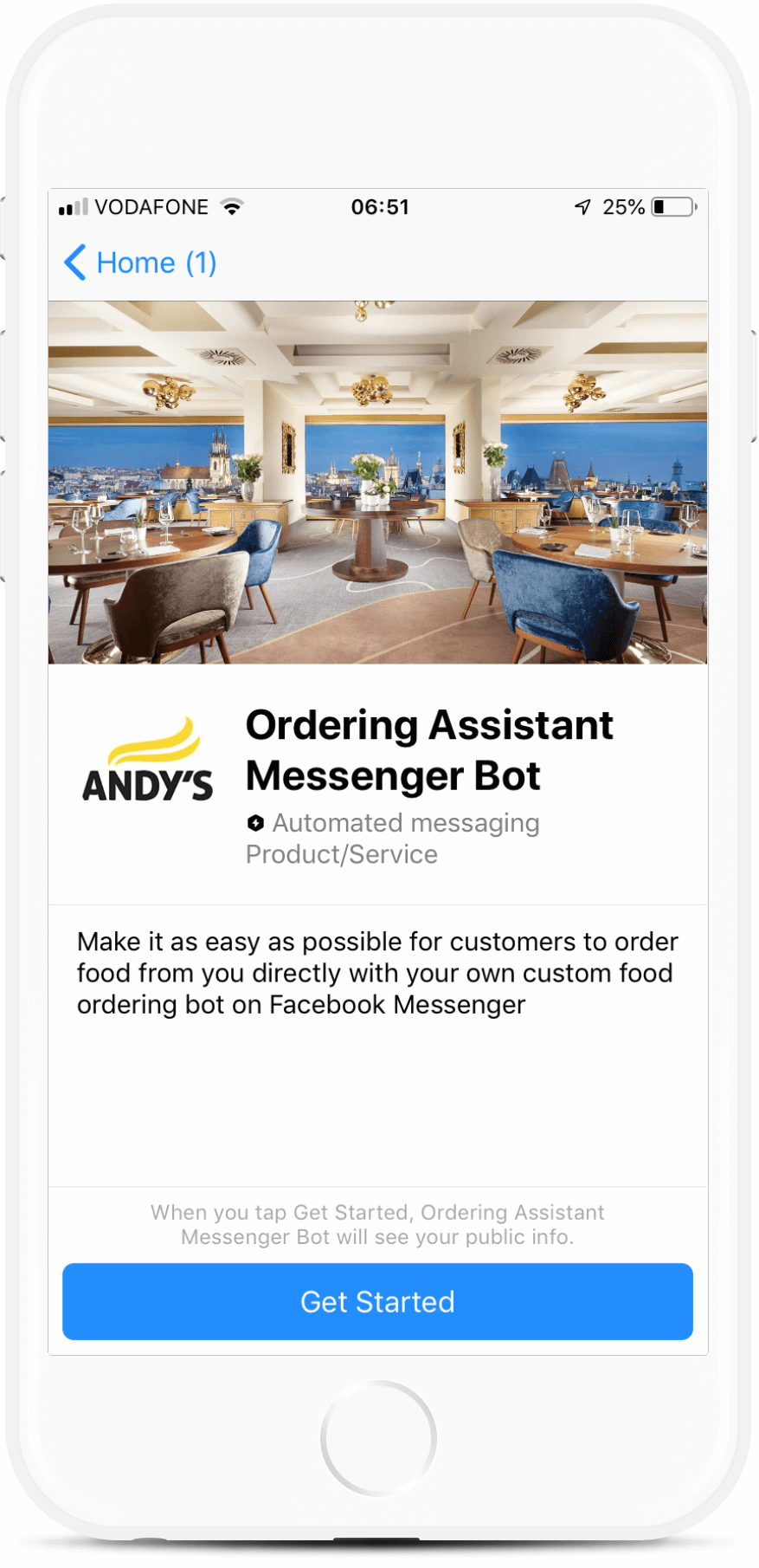 Ordering Assistant Messenger Bot for Restaurants bot screenshot