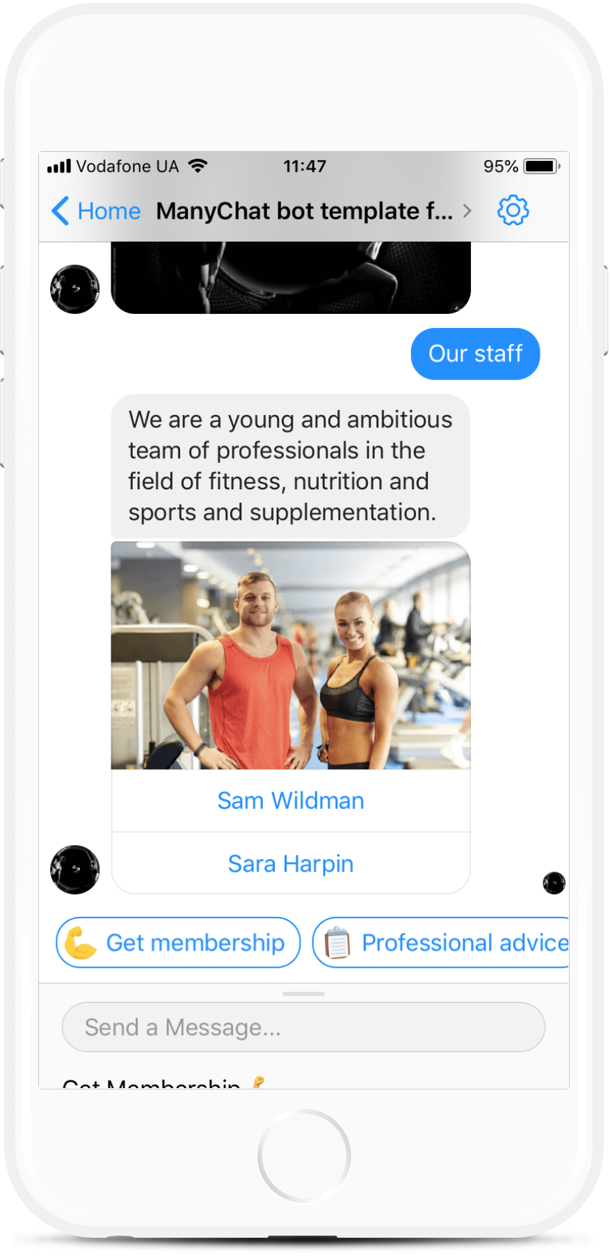 ManyChat bot template for Gyms and Fitness Clubs for $99   #messenger #bottemplates #bots #chatbots #aibots #fbmessenger #botmakers