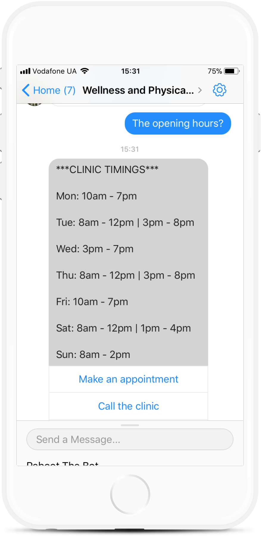 Appointment Bot Template for Wellness Clinics for $79