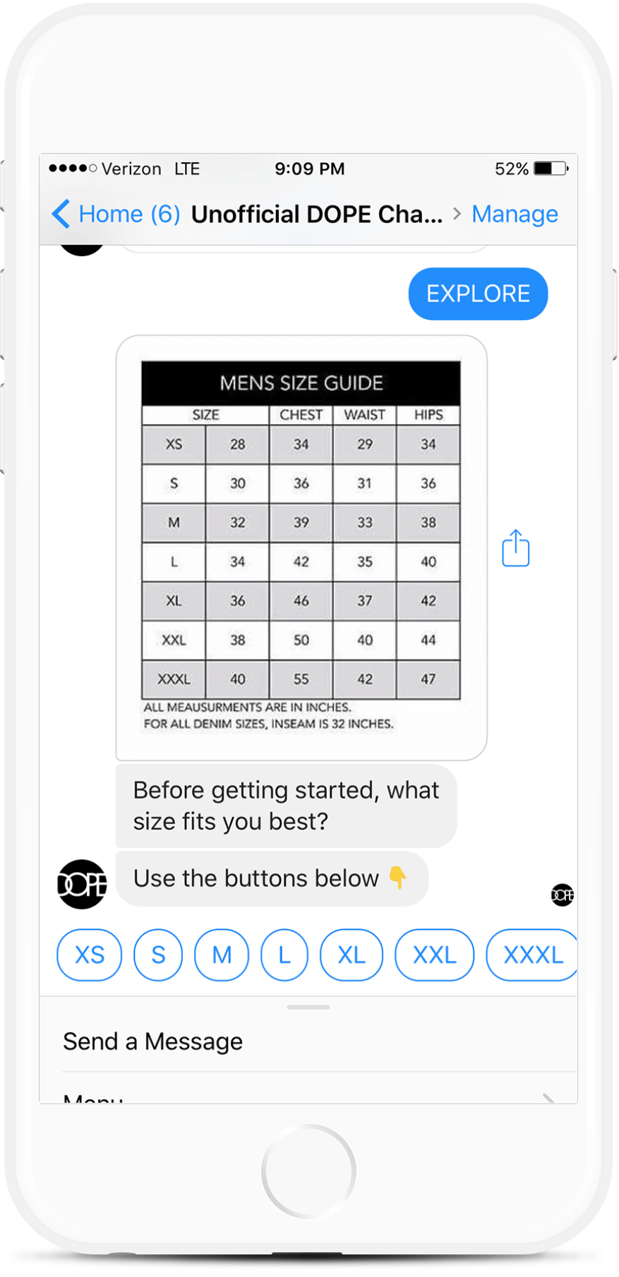 Facebook Messenger Chatbot for Clothing Retailers for $69