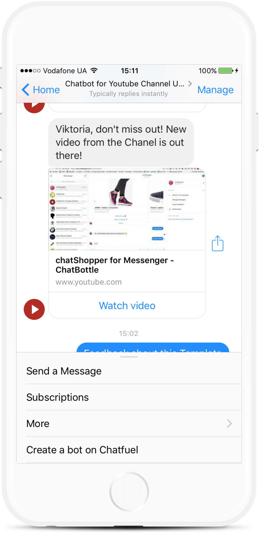 Facebook Messenger Chatbot for a YouTube Channel for $49
