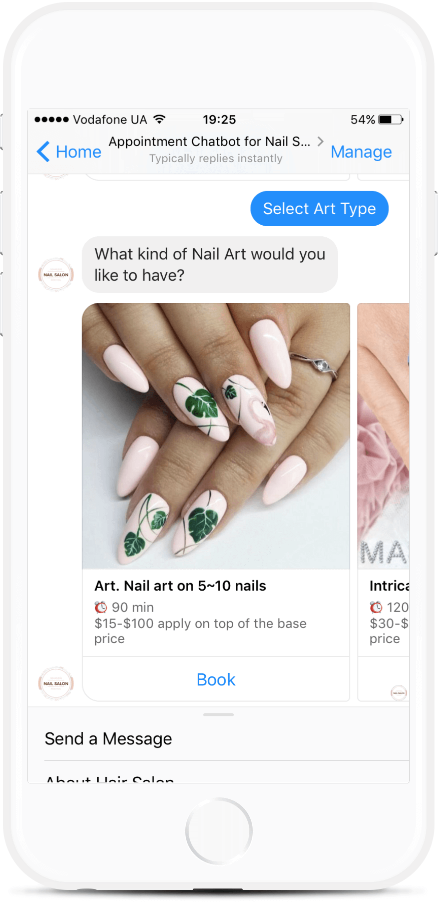 Facebook Messenger Appointment Chatbot for Nail Salons for $59