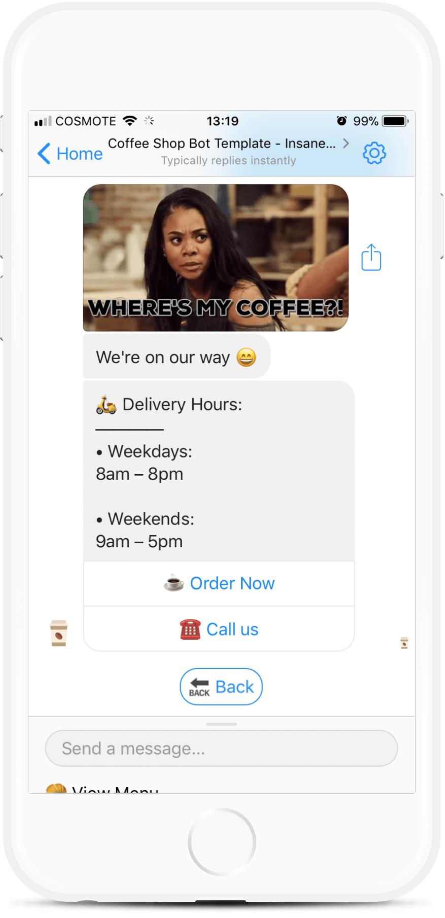 Coffee Shop Bot Template for $97   #messenger #bottemplates #bots #chatbots #aibots #fbmessenger #botmakers