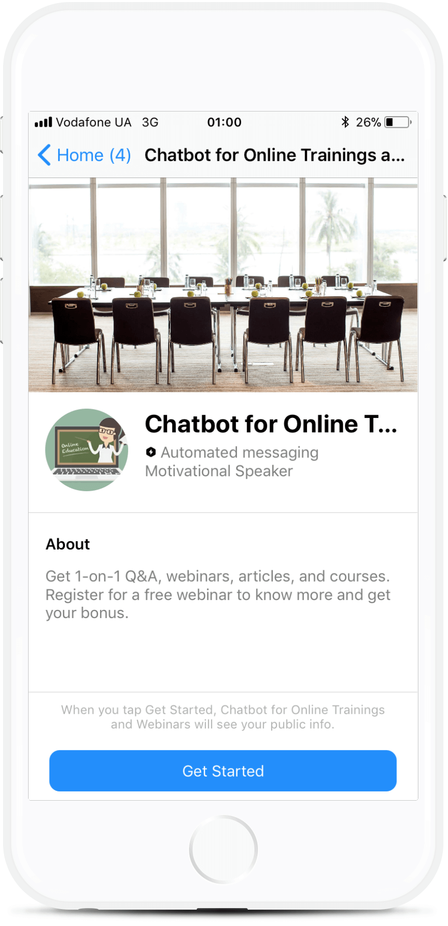 Chatbot for Online Trainings and Webinars Messenger bot screenshot