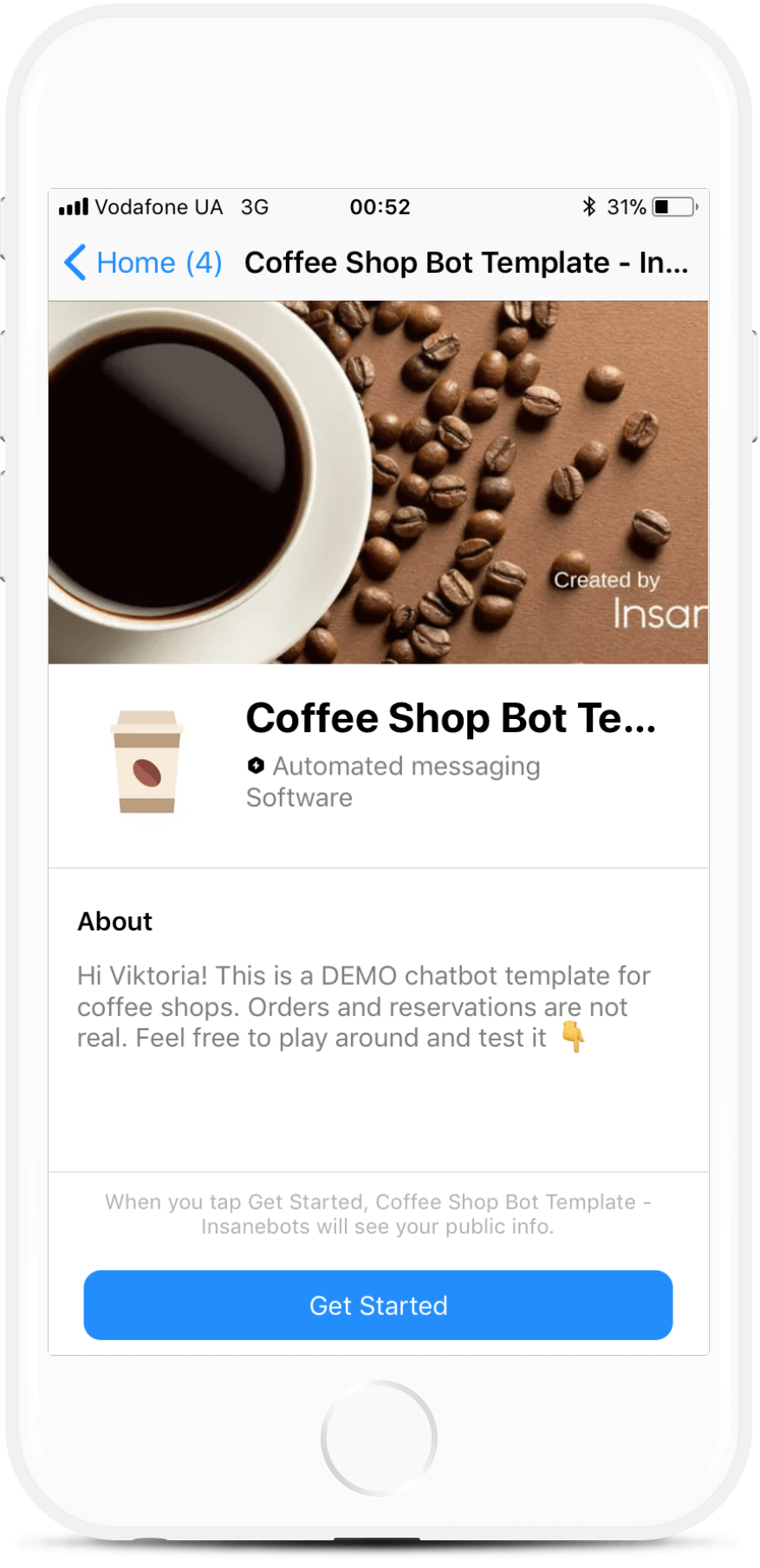 Coffee Shop Bot Template